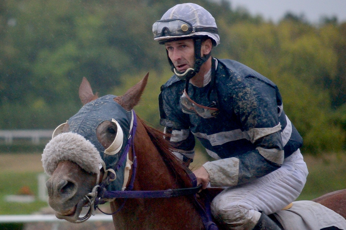 Bo Badger and Taylor Hole after winning race nine at Suffolk Downs on October 4, 2014