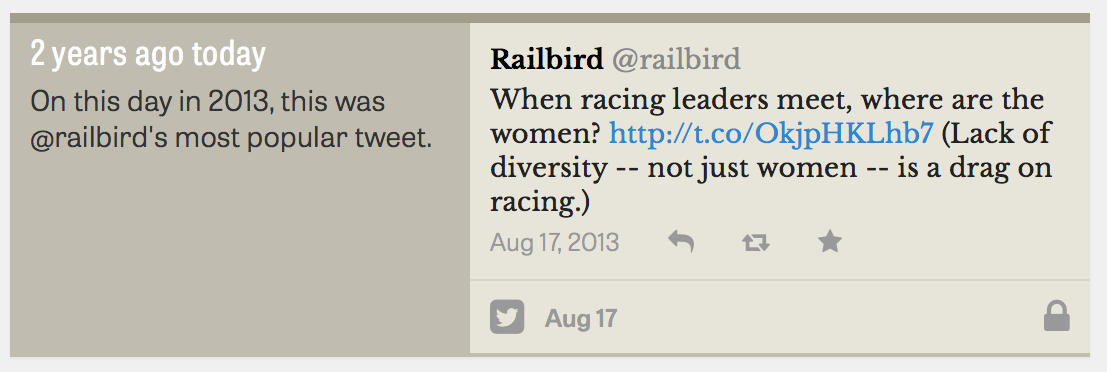 My most popular tweet on August 17, 2013, featuring a link to a Teresa Genaro column in the Saratogian about women in racing