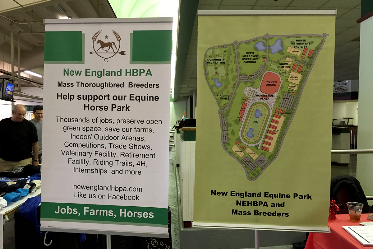 Display promoting the proposed New England HBPA horse park