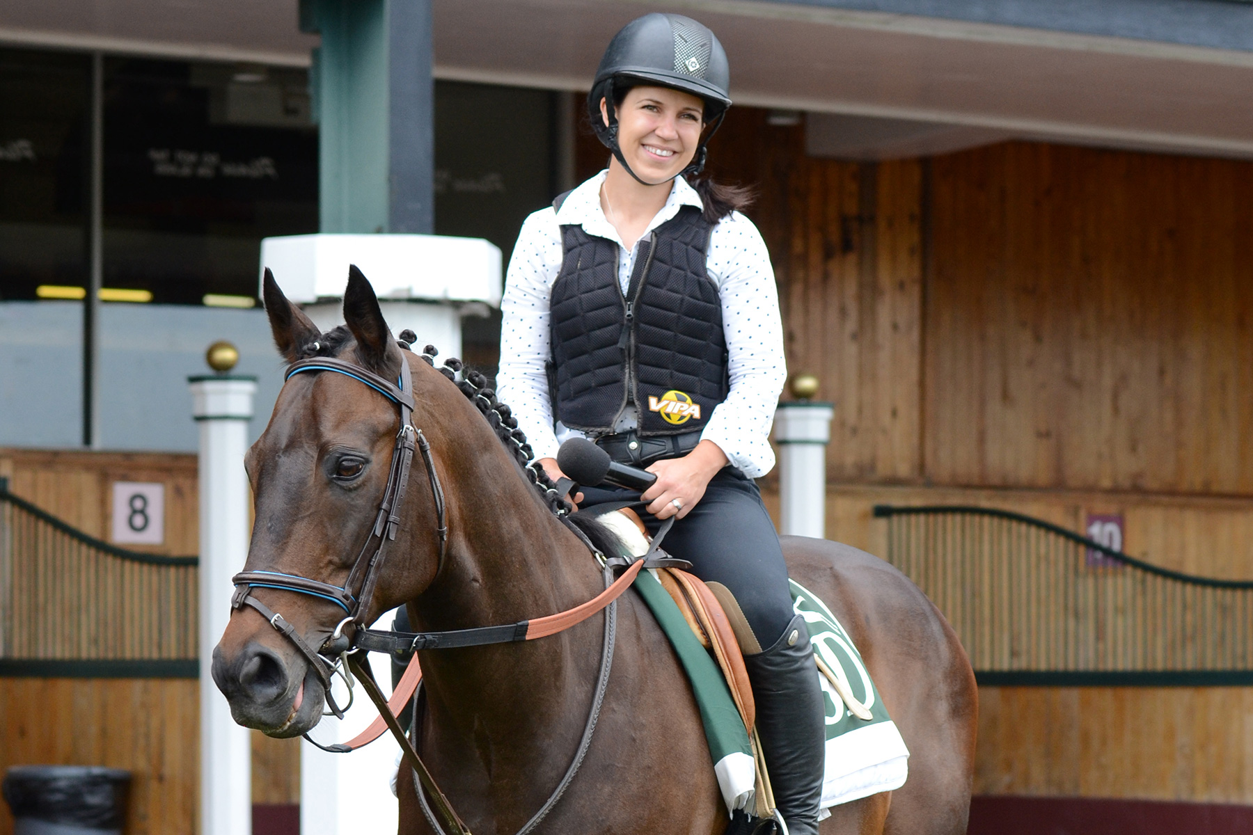 Jessica Paquette delivers her paddock analysis for the first race at Suffolk Downs on June 29, 2019 from atop New England champion Mr. Meso