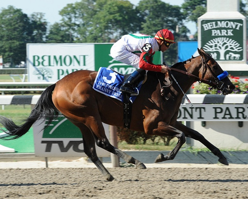 Franny Freud wins the G1 Prioress at Belmont Park on July 4, 2010