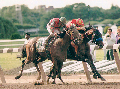 The finish of the 1998 Belmont Stakes