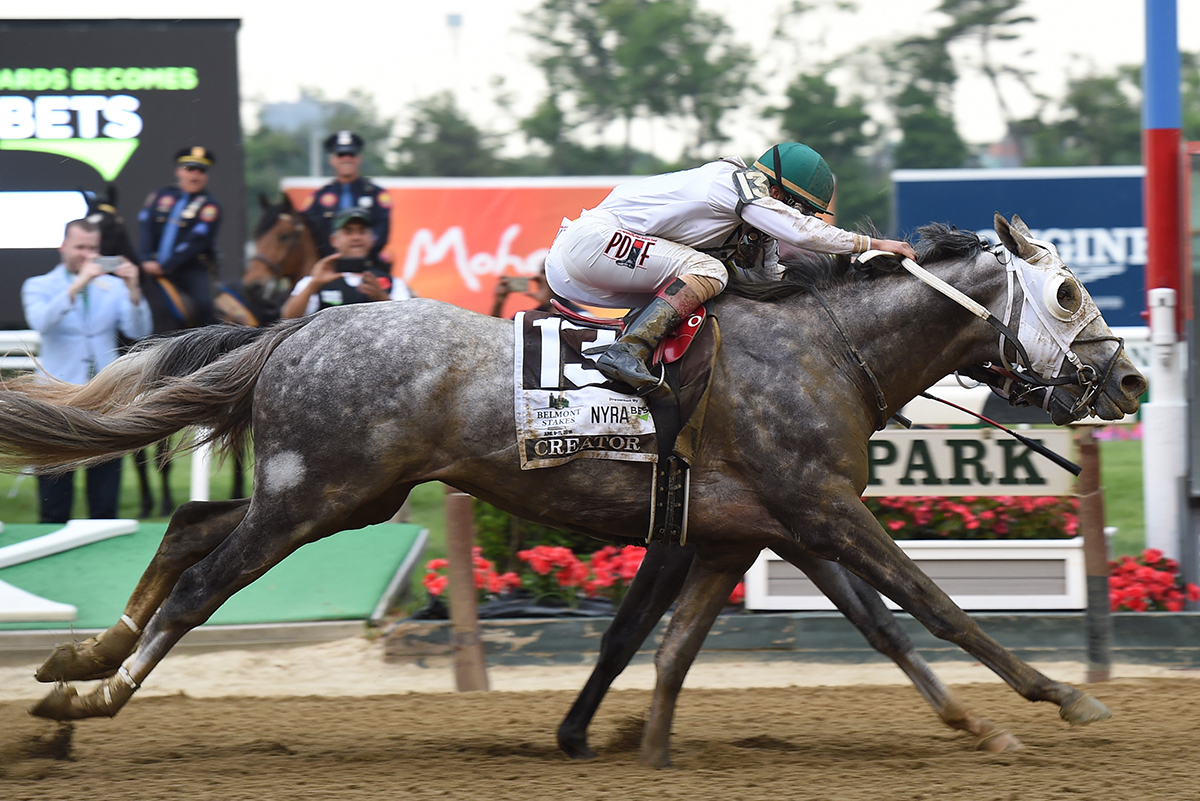 Creator noses out Destin to win the 2016 Belmont Stakes