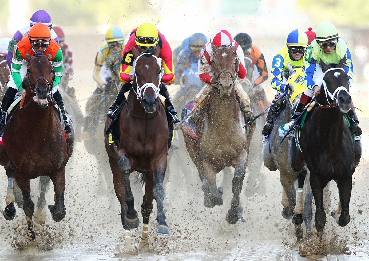 The field charges past the grandstand in the 2017 Kentucky Derby