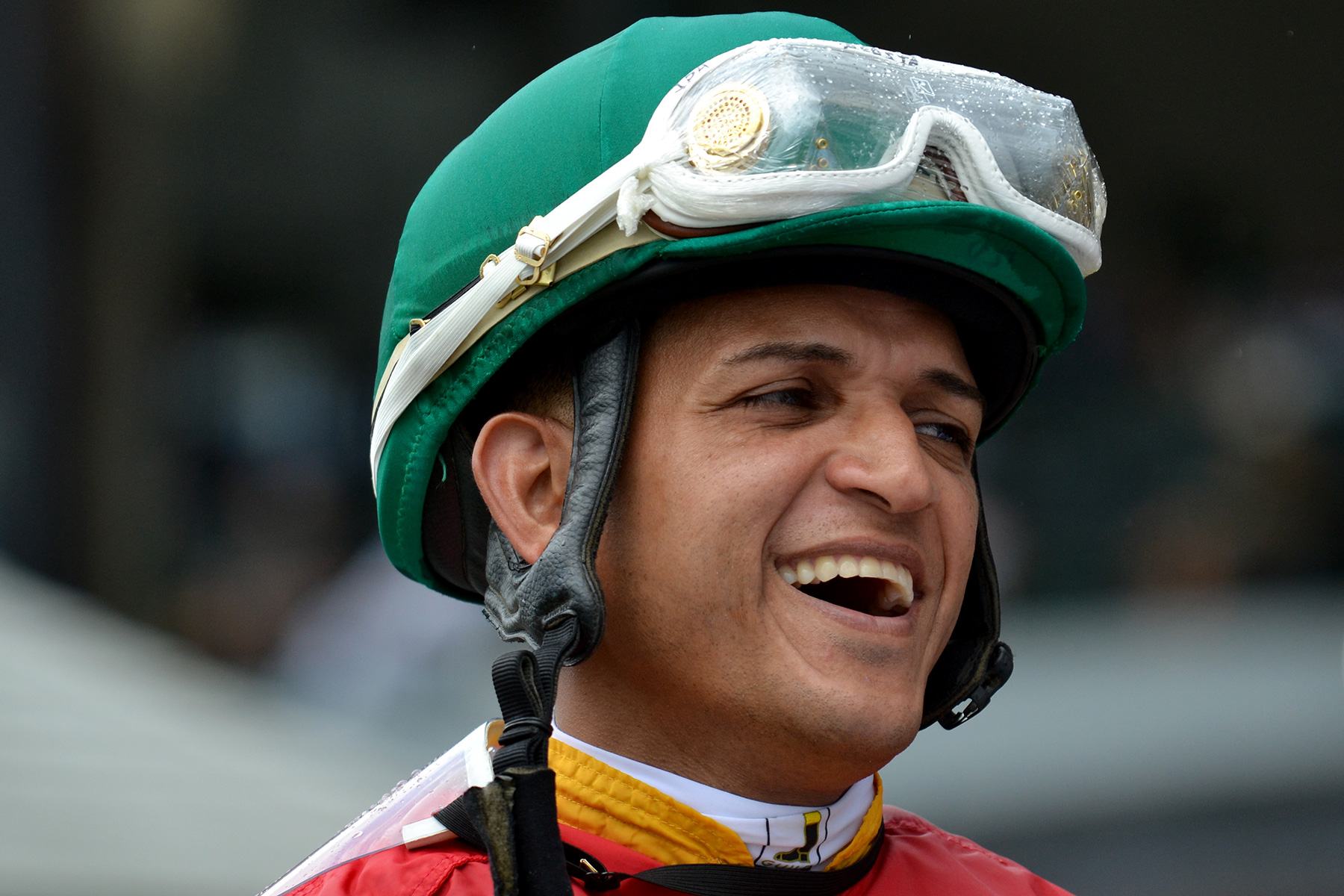 Jockey J.D. Acosta in the paddock at Suffolk Downs